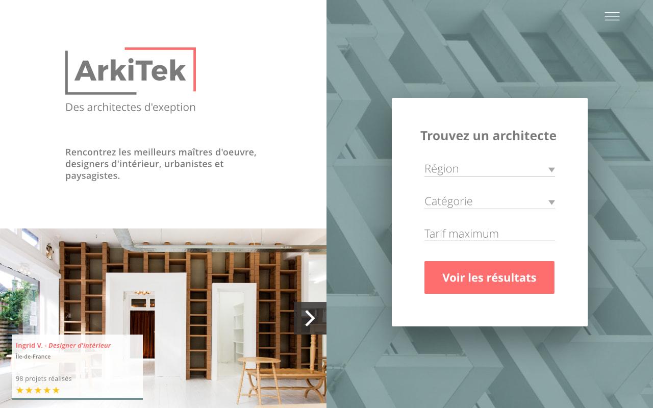 Design et développement de l'application web Arkitek.