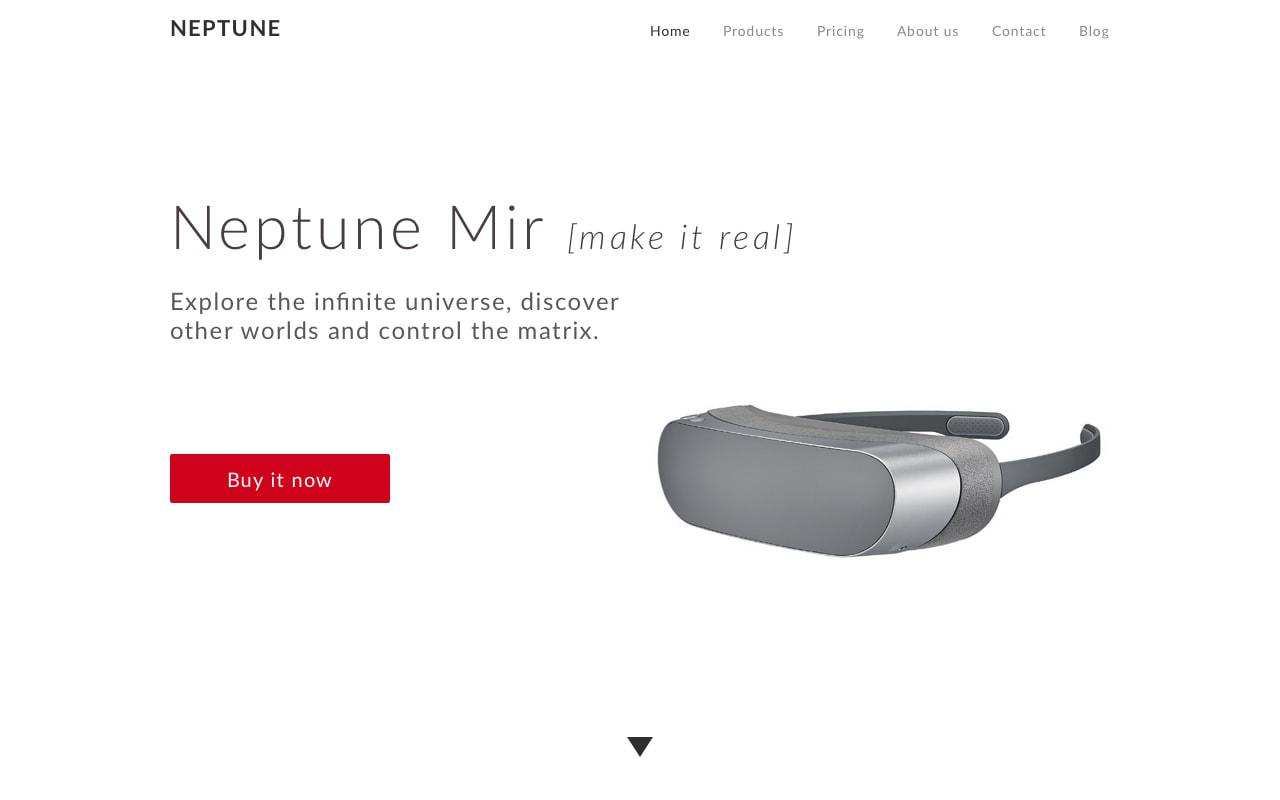 Création de la page de vente du casque de réalité virtuelle Neptune MIR.